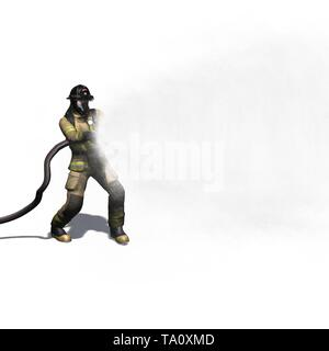 Firefighter with water hose - isolated on white background - 3D illustration - Stock Photo