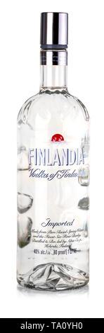 Chisinau, Moldova August 23, 2017: Finlandia Vodka isolated on white . Alcohol by volume 40.0%. Country of origin Finland. Stock Photo