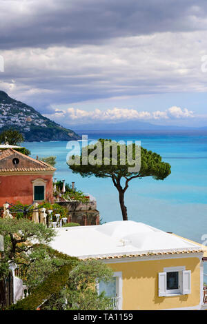 View of the Mediterranean sea specifically  the Amalfi Coast and Bay of Salerno from Positano in the Campania region of Southern  Italy - Stock Photo