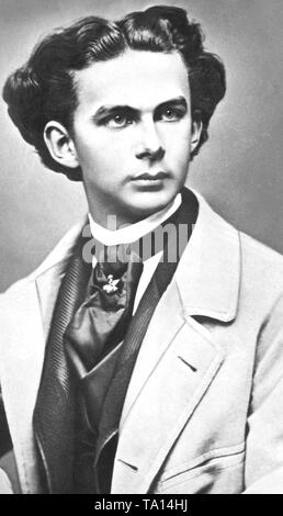 This photograph shows King Ludwig II of Bavaria. Undated photo. - Stock Photo