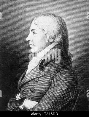 Profile portrait of Edward Jenner (1749-1823), English physician and scientist who was the pioneer of smallpox vaccine, the world's first vaccine - Stock Photo