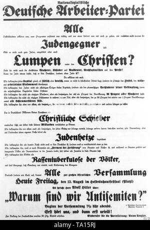 The NSDAP tries to convince the population of its arguments and anti-Semitism with an information leaflet. At the very bottom is pointed out the first large mass meeting with Adolf Hitler on February 24, 1920. - Stock Photo