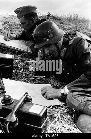 Two officers lie in a field near Oryol, and discuss the situation. Further steps are sketched on maps. Next to them, a field telephone. Photo of the Propaganda Company (PK): war correspondent Gutjahr. - Stock Photo