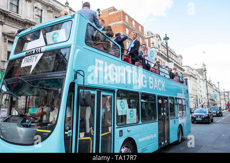 LONDON- MAY 21st 2019: The Brexit Party bus on Piccadilly in London's West End- campaigning ahead of the upcoming European elections - Stock Photo