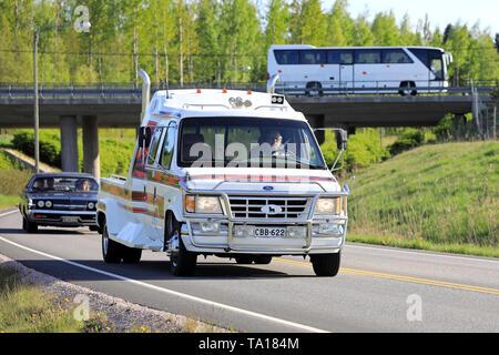 Salo, Finland. May 18, 2019. Tuned Ford Ranger pickup truck on the road on Salon Maisema Cruising 2019. - Stock Photo
