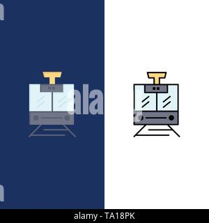 Train, Public, Service, Vehicle  Icons. Flat and Line Filled Icon Set Vector Blue Background - Stock Photo