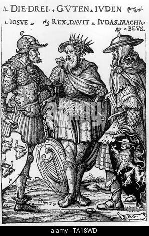 The woodcut entitled 'Die drei guten Juden' (The Three Good Jews) by Hans Burgkmair shows three famous representatives of Judaism, Joshua, King David and Judas Maccabee, also known as Maccabeus. All three are represented as warriors, in full armor. The shield of Judah Maccabee is decorated a human-animal mixture, presumably a dragon with a man's head. - Stock Photo