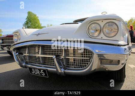 Salo, Finland. May 18, 2019. Detail of Classic white Ford Thunderbird Hardtop classic car, Second Generation, on Salon Maisema Cruising 2019. - Stock Photo