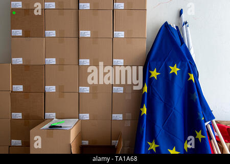 Ongoing preparations prior to the 2019 European Parliament election in the Czech Republic are seen on May 21, 2019, in Hradec Kralove, Czech Republic. (CTK Photo/David Tanecek) - Stock Photo