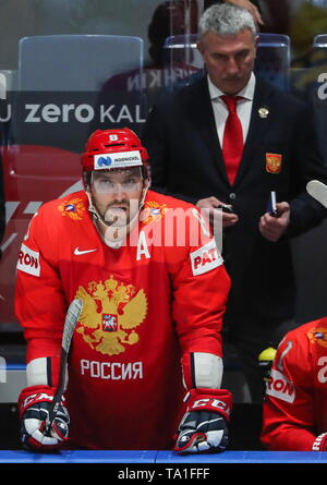 Bratislava, Slovakia. 21st May, 2019. BRATISLAVA, SLOVAKIA - MAY 21, 2019: Russia's Alexander Ovechkin during the 2019 IIHF Ice Hockey World Championship Preliminary Round Group B match against Sweden at Ondrej Nepela Arena. Alexander Demianchuk/TASS Credit: ITAR-TASS News Agency/Alamy Live News - Stock Photo