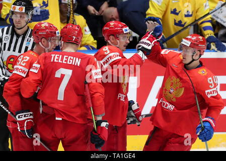 Bratislava, Slovakia. 21st May, 2019. BRATISLAVA, SLOVAKIA - MAY 21, 2019: Russia's players celebrate scoring in the 2019 IIHF Ice Hockey World Championship Preliminary Round Group B match against Sweden at Ondrej Nepela Arena. Alexander Demianchuk/TASS Credit: ITAR-TASS News Agency/Alamy Live News - Stock Photo
