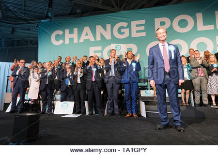 Olympia, London, UK. 21st May, 2019. The Brexit Party holds a political rally and fundraising event with Nigel Farage among the speakers. (c) Credit: Jonathan James Syer/Alamy Live News - Stock Photo