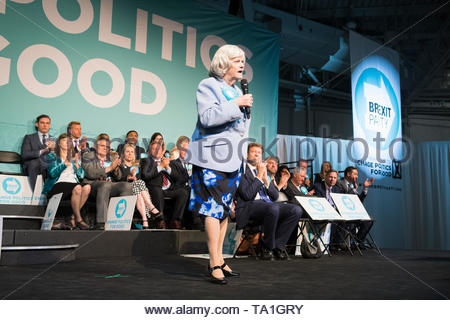 Olympia, London, UK. 21st May, 2019. The Brexit Party holds a political rally and fundraising event with Ann Widdecombe among the speakers. (c) Credit: Jonathan James Syer/Alamy Live News - Stock Photo