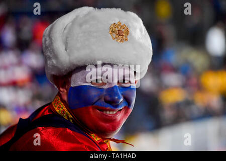 Bratislava, Slovakia. 21st May, 2019. Fans of Russia in action during the match between Sweden and Russia within the 2019 IIHF World Championship in Bratislava, Slovakia, on May 21, 2019. Credit: Vit Simanek/CTK Photo/Alamy Live News - Stock Photo