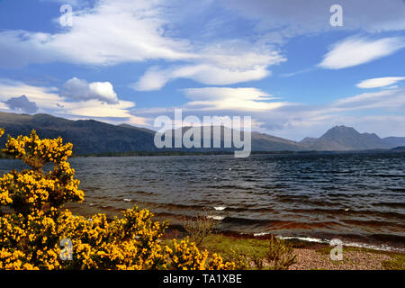 Loch Maree in the West Highlands of Scotland with the Slioch mountain in the background - Stock Photo