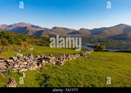 Llanberis  Gwnedd Wales May 13, 2019 View of Snowdon from the hills above Llyn Padarn - Stock Photo