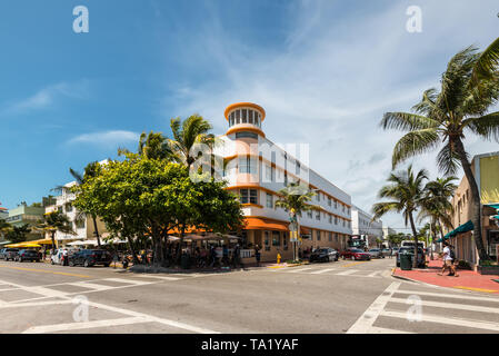 Miami, FL, USA - April 19, 2019: The Room Mate Waldorf Towers Hotel on the Ocean Drive at the historical Art Deco District of Miami South Beach with h