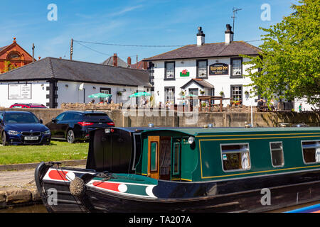 Llangollen Dengighshire Wales May 14, 2019 Narrow boats on the Llangollen Canal - Stock Photo