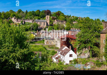 Ironbridge Shropshire England May 14, 2019 The famous iron bridge, built across the river Severn and opened in 1781 - Stock Photo