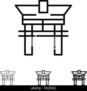 Gate, Bridge, China, Chinese Bold and thin black line icon set - Stock Photo