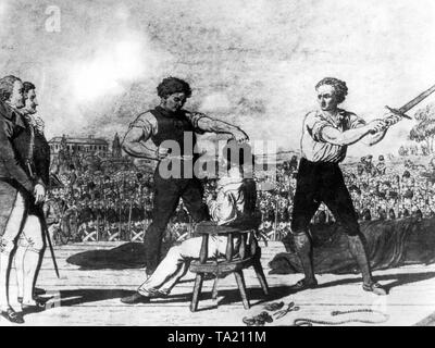 Execution of the student Karl Ludwig Sand (1795-1820), who murdered August von Kotzebue in 1819. - Stock Photo