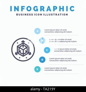 Scale, Modification, Design, 3d Blue Infographics Template 5 Steps. Vector Line Icon template - Stock Photo