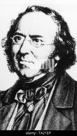 Ludwig Bechstein (1801-1860), a German author and collector of fairy tales. - Stock Photo