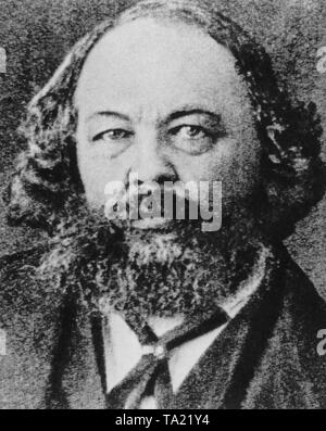 The Russian revolutionary Mikhail Alexandrovich Bakunin (1814-1876). In 1844 he established contact with P. J. Proudhon and Karl Marx in Paris. In May 1849 he was involved in the Dresden uprising and was imprisoned. In 1851 he was extradited to Russia and in 1857 he was sent to Siberia, from where he fled to London in 1861. Here he took part in the First International (he was excluded in 1872). - Stock Photo