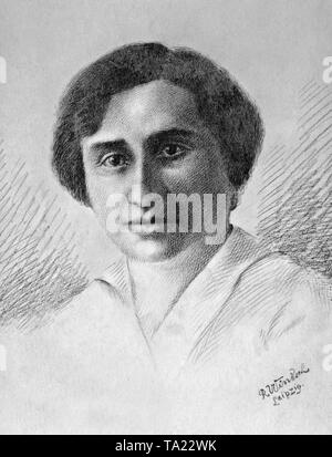 Rosa Luxemburg (1871-1919), a German socialist. Drawing by R. Windsch. - Stock Photo