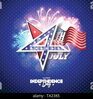 4th of July Independence Day of the USA Vector Illustration with 4 Number in Star Symbol. Fourth of July National Celebration Design with American - Stock Photo