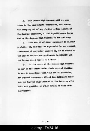 Second page of the capitulation document of the Wehrmacht, signed by Generalfeldmarschall Keitel, Generaladmiral Friedeburg, and Oberst Stumpff at the headquarters of the Soviet commander-in-chief, General Zhukov, in Karlshorst. - Stock Photo