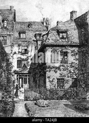 Birthplace of the German composer Ludwig van Beethoven in Bonn. Drawing by Hugo Ulbrich. - Stock Photo