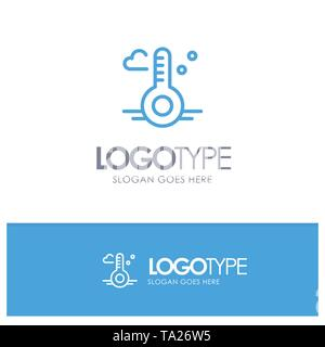Temperature, Thermometer, Weather, Spring Blue outLine Logo with place for tagline - Stock Photo