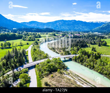 Isartal Karwendel mountains, Isar river, Bavaria Germany Aerial - Stock Photo