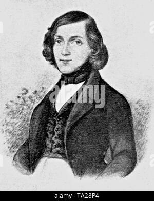 Theodor Fontane (1819-1898), a German poet. Youth portrait by David Ottensooser. - Stock Photo