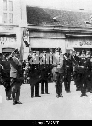Dr. Hans Globke (marked with arrow), commentator of the Nuremberg Race Laws and later Secretary of State in the Cabinet of Adenauer, and left of him, Nazi Interior Minister Wilhelm Frick. - Stock Photo
