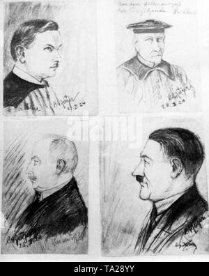 Trial of Adolf Hitler, who was charged with high treason due to his coup attempt in November 1923. Drawing of the main participants: Attorney and Prosecutor Hans Ehard (top left), the chairman of the court, state court director Georg Neithardt (top right), the accused General Erich Ludendorff (bottom left) and Adolf Hitler (bottom right). - Stock Photo