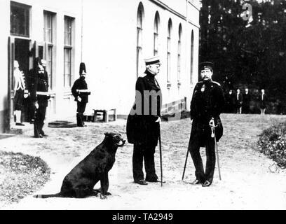 Otto von Bismarck and Kaiser Wilhelm II in front of Friedrichsruhe, Bismarck's residence. Bismarck, Chancellor of Germany resigned in March 1890 in protest against the Kaiser's policies. Early conflicts between Wilhelm II and his chancellor soon poisoned the relationship between the two men, to cover the resulting public perception the young monarch visited the aged Chancellor several times in his residence