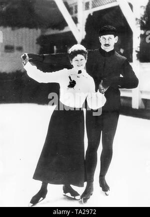 Annie Horn (born in 1884) won in 1908 at the Olympic Games in London with her partner Heinrich Burger the first German gold medal in figure skating - Stock Photo