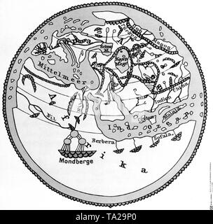 The world map of the Arab al-Idrisi from the year 1154. - Stock Photo