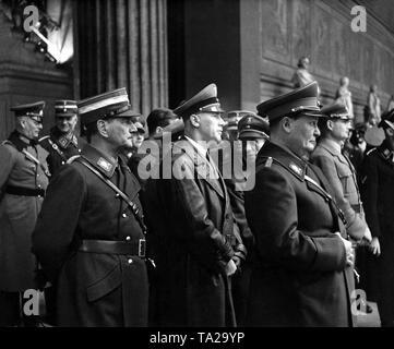 From left: Franz Ritter von Epp, Reich Governor in Bavaria, Reich Interior Minister Wilhelm Frick, and Hermann Goering in Valhalla. Photo: Friedrich Bauer. - Stock Photo