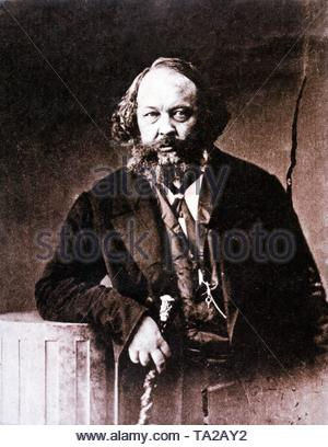 The Russian revolutionary Mikhail Alexandrovich Bakunin (1814 - 1876). In Paris Bakunin became connected with P.J. Proudhon and Karl Marx in 1844. In May 1849 he was involved in the uprising in Dresden and subsequently imprisoned. In 1851 he was extradited to Russia and sent to Siberia in 1857, from where he fled to London in 1861. Here he participated in the First International (excluded in 1872). - Stock Photo