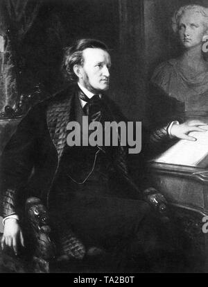 Oil portrait of the composer Richard Wagner, painted by the Munich painter Friedrich Pecht, intended for King Ludwig II as a gift. - Stock Photo