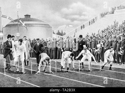 Drawing of the first modern Olympic Games in Athens: At the start of the 100 meters final run the runners take different positions. The American Burke (2nd from left) wins the race as he started with a modern crouch start. - Stock Photo