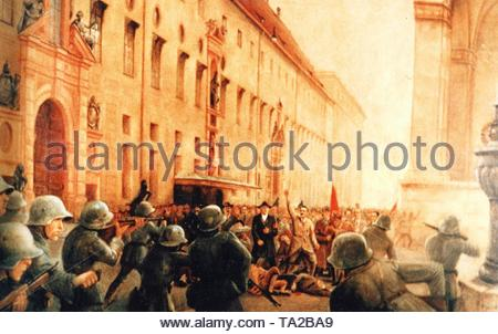 Adolf Hitler with his putschists in the fire of the Bavarian gendarmerie on November 9, 1923 in Munich. On the left in the picture, the Residenz, on the right the Feldherrnhalle (after a painting by H.Schmitt). - Stock Photo