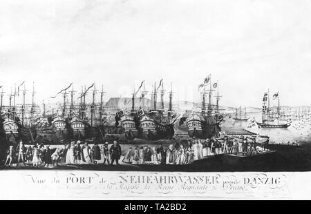 This photograph is a view of the port of Neufahrwasser, Nowy Port, near Gdansk. The port belonged to the Monastery of Oliwa of the Cistercian Order in the formerly independent city of Oliwa, today a district of Gdansk. Already after the first partition of Poland in 1772, the port fell to Prussia and was thus separated from Danzig. In the 19th century, the small town Neufahrwasser was expanded with a barracks to military base. The Treaty of Versailles in 1919 attributed the port to the Free City of Danzig. The Germans used the area as a transit camp during the Second World War. After the - Stock Photo