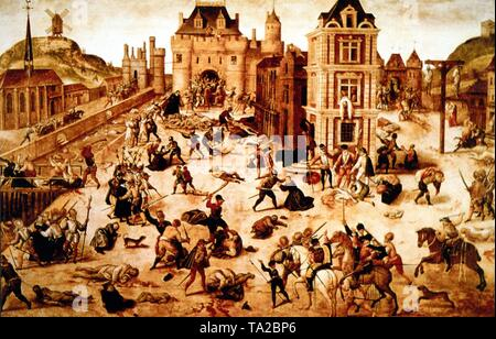 Painting of the St. Bartholomew's Day massacre (Paris Blood Wedding), on the night of 24.08. (St. Bartholomew's Day) in 1572 when Admiral G. de Coligny, among others leader of the Huguenots, was killed on the order of Catherine de Medici along with thousands of fellow believers who gathered to celebrate the wedding of the Protestant Henry of Navarre (later Henry IV of France) with Margaret of Valois in Paris. - Stock Photo