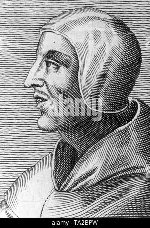 Profile portrait of philosopher-theologians Duns Scotus (1266-1308) - Stock Photo