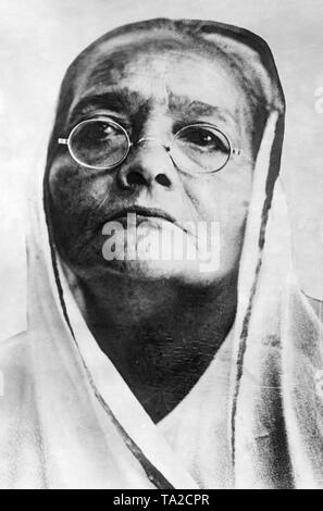 Kasturba Gandhi, Mahatma Gandhi's wife. - Stock Photo