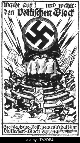 After the ban of the NSDAP as a successor partythe Volkischer Block was formed, which instigated with anti-parliamentary posters such as this electoral advertising. A fist, grown out of a swastika, crushes a parliament. - Stock Photo